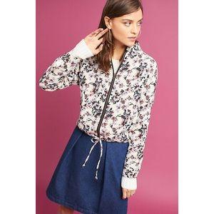 Anthropologie Cher Floral Bomber Jacket Coat
